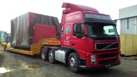 Transportation by super low loader