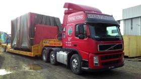 Transportation by super low loader